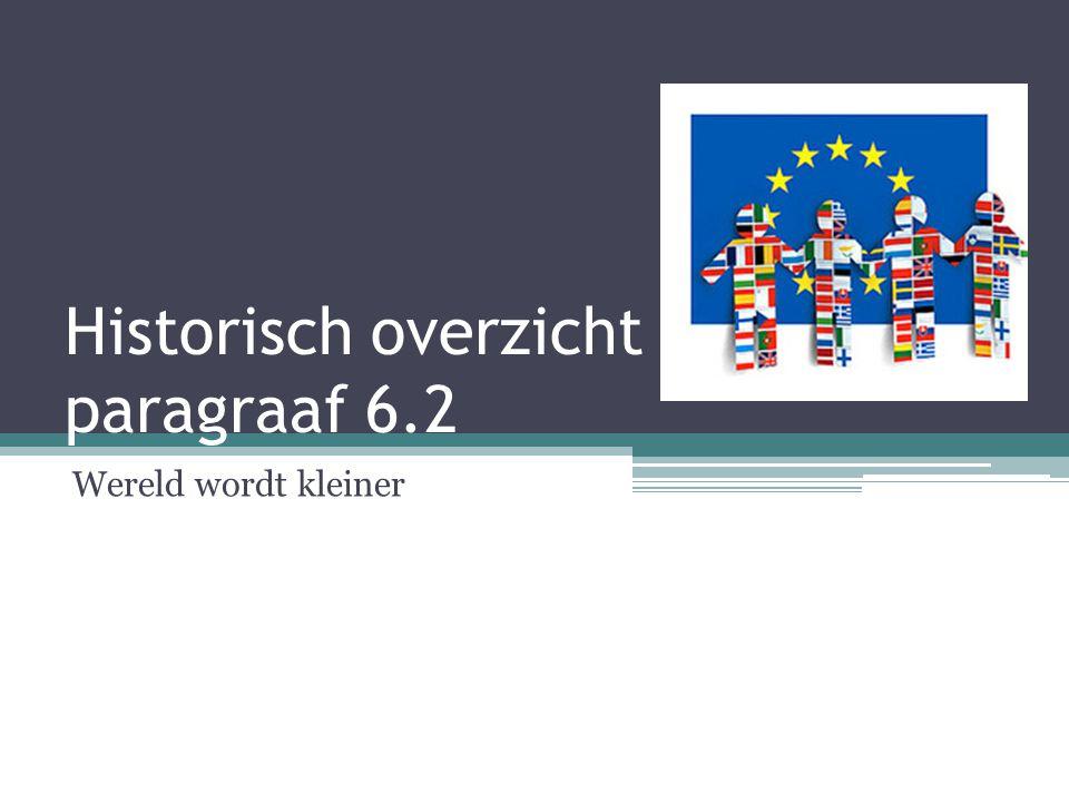 1957  Europese Economische Gemeenschap (EEG)  6 landen: Nederland, België, Duitsland, Luxemburg, Frankrijk en Italië.