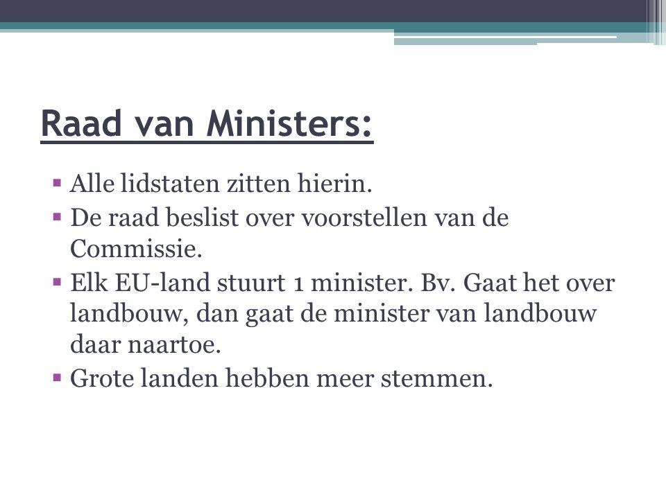 Raad van Ministers:  Alle lidstaten zitten hierin.  De raad beslist over voorstellen van de Commissie.  Elk EU-land stuurt 1 minister. Bv. Gaat het