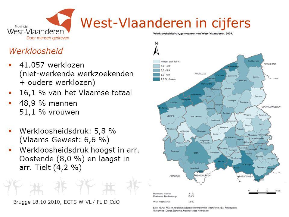 West-Vlaanderen in cijfers Brugge 18.10.2010, EGTS W-VL / FL-D-CdO Werkloosheid  41.057 werklozen (niet-werkende werkzoekenden + oudere werklozen)  16,1 % van het Vlaamse totaal  48,9 % mannen 51,1 % vrouwen  Werkloosheidsdruk: 5,8 % (Vlaams Gewest: 6,6 %)  Werkloosheidsdruk hoogst in arr.