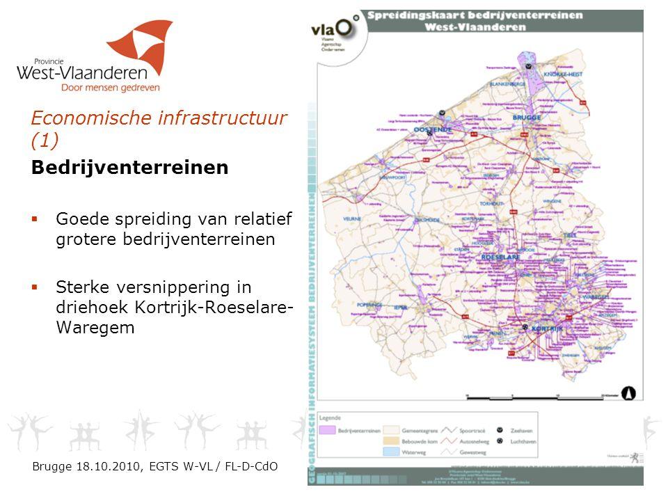 Economische infrastructuur (1) Bedrijventerreinen  Goede spreiding van relatief grotere bedrijventerreinen  Sterke versnippering in driehoek Kortrijk-Roeselare- Waregem Brugge 18.10.2010, EGTS W-VL / FL-D-CdO