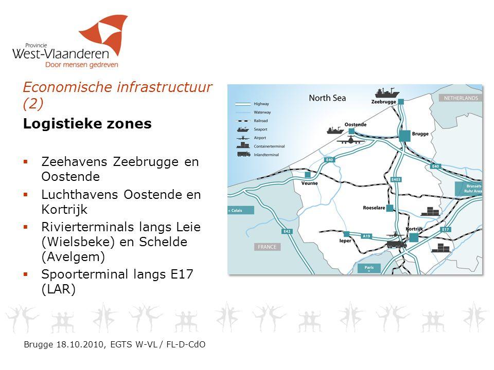 Economische infrastructuur (2) Logistieke zones  Zeehavens Zeebrugge en Oostende  Luchthavens Oostende en Kortrijk  Rivierterminals langs Leie (Wielsbeke) en Schelde (Avelgem)  Spoorterminal langs E17 (LAR) Brugge 18.10.2010, EGTS W-VL / FL-D-CdO