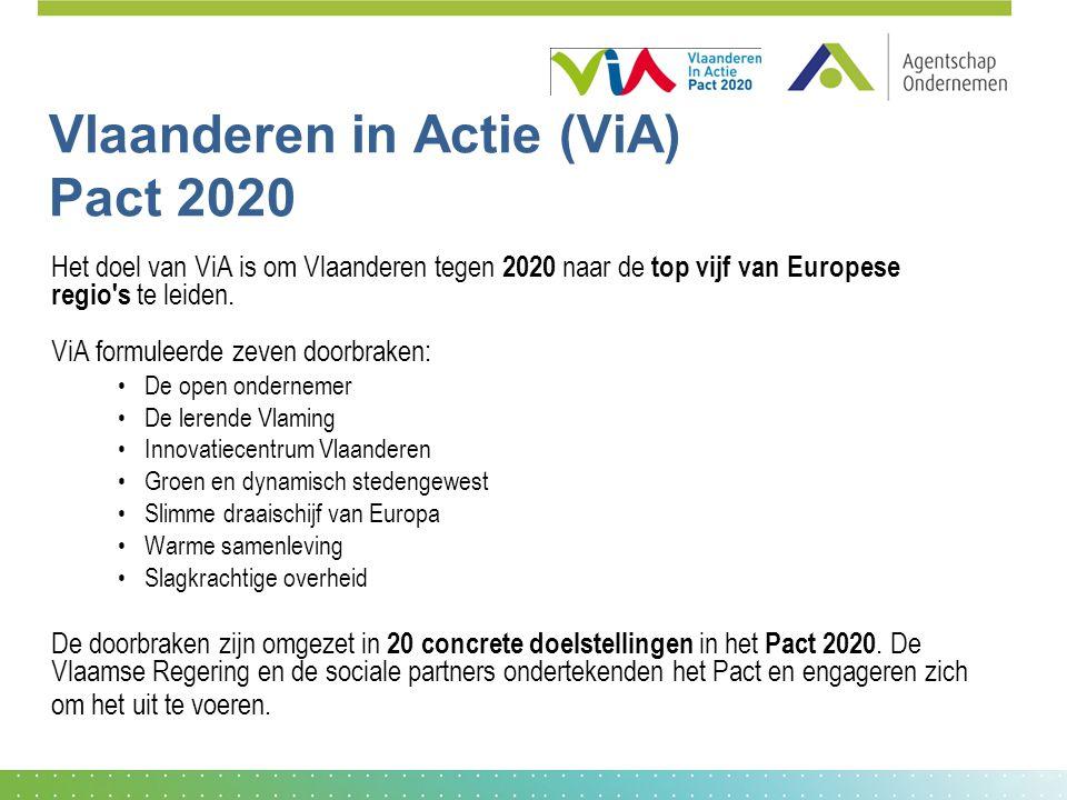 Vlaanderen in Actie (ViA) Pact 2020 Het doel van ViA is om Vlaanderen tegen 2020 naar de top vijf van Europese regio s te leiden.