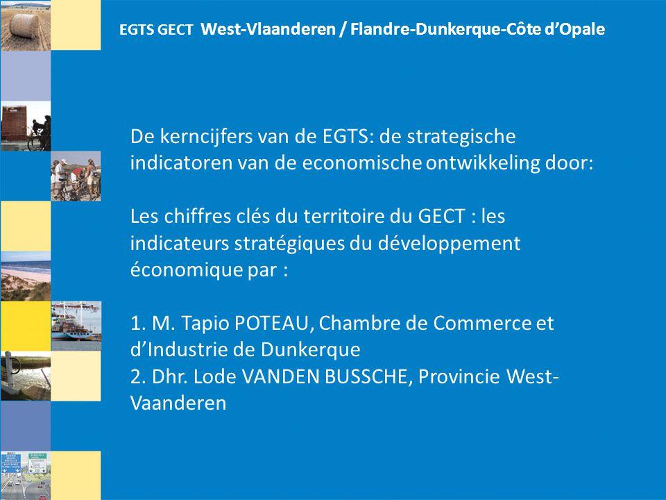 De kerncijfers van de EGTS: de strategische indicatoren van de economische ontwikkeling door: Les chiffres clés du territoire du GECT : les indicateurs stratégiques du développement économique par : 1.
