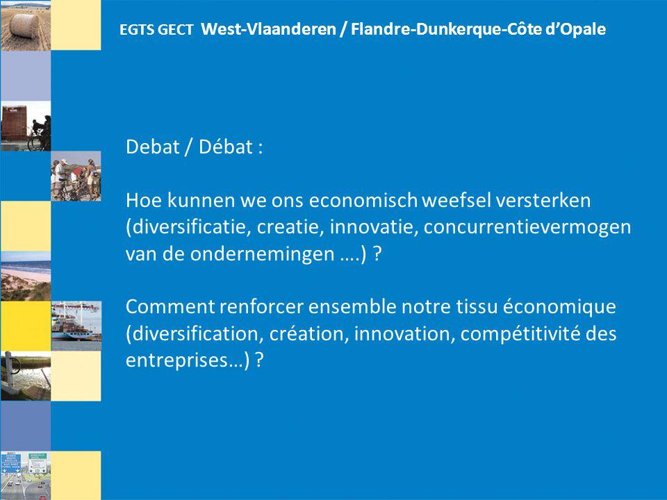 EGTS GECT West-Vlaanderen / Flandre-Dunkerque-Côte d'Opale Debat / Débat : Hoe kunnen we ons economisch weefsel versterken (diversificatie, creatie, innovatie, concurrentievermogen van de ondernemingen ….) .