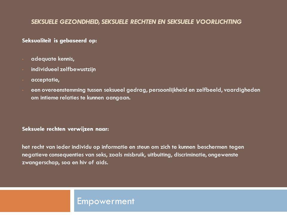 SEKSUELE GEZONDHEID, SEKSUELE RECHTEN EN SEKSUELE VOORLICHTING Seksualiteit is gebaseerd op: adequate kennis, individueel zelfbewustzijn acceptatie, e