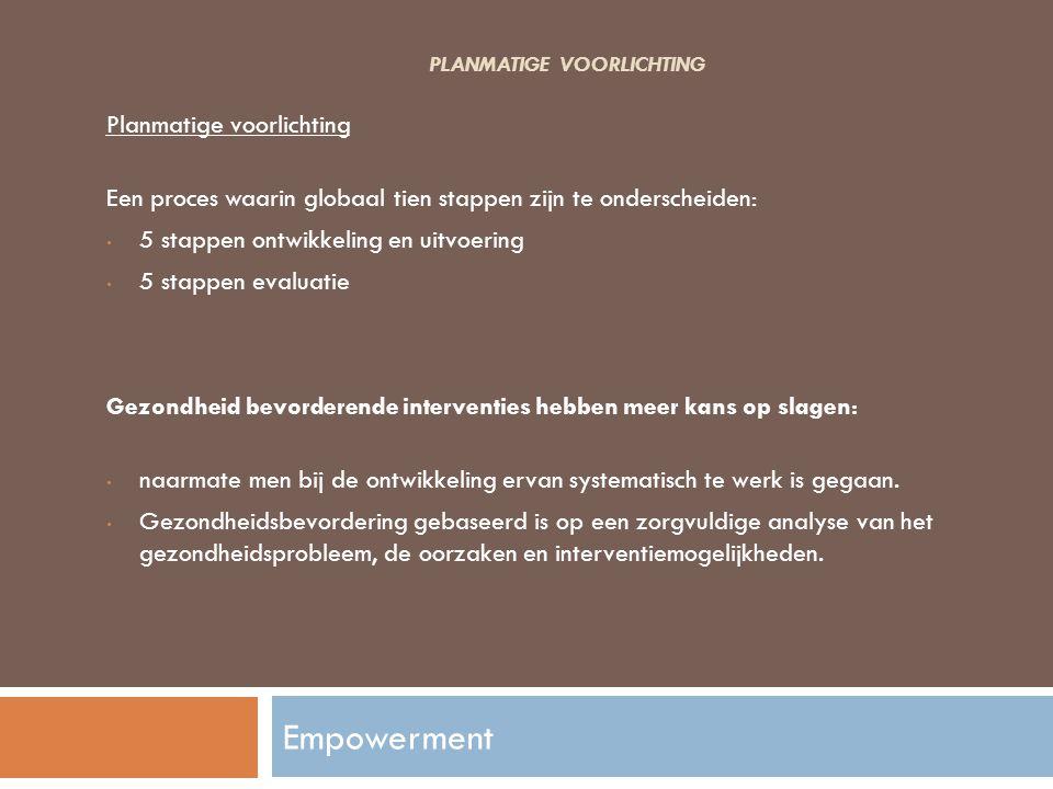PLANMATIGE VOORLICHTING Planmatige voorlichting Een proces waarin globaal tien stappen zijn te onderscheiden: 5 stappen ontwikkeling en uitvoering 5 s