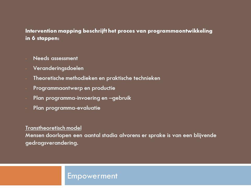 Intervention mapping beschrijft het proces van programmaontwikkeling in 6 stappen: Needs assessment Veranderingsdoelen Theoretische methodieken en pra