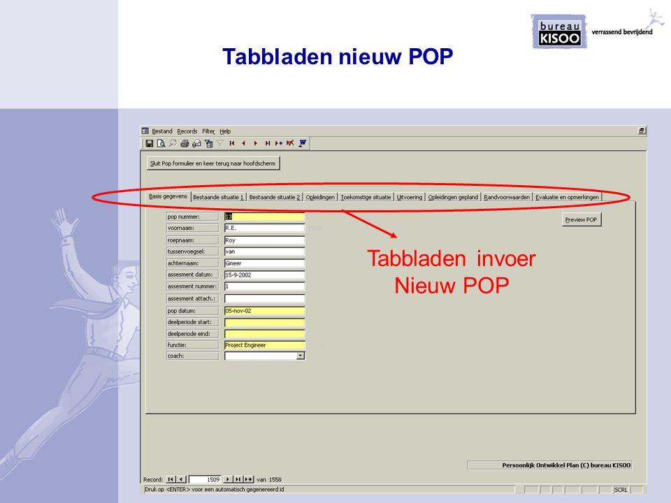 Tabbladen nieuw POP Tabbladen invoer Nieuw POP