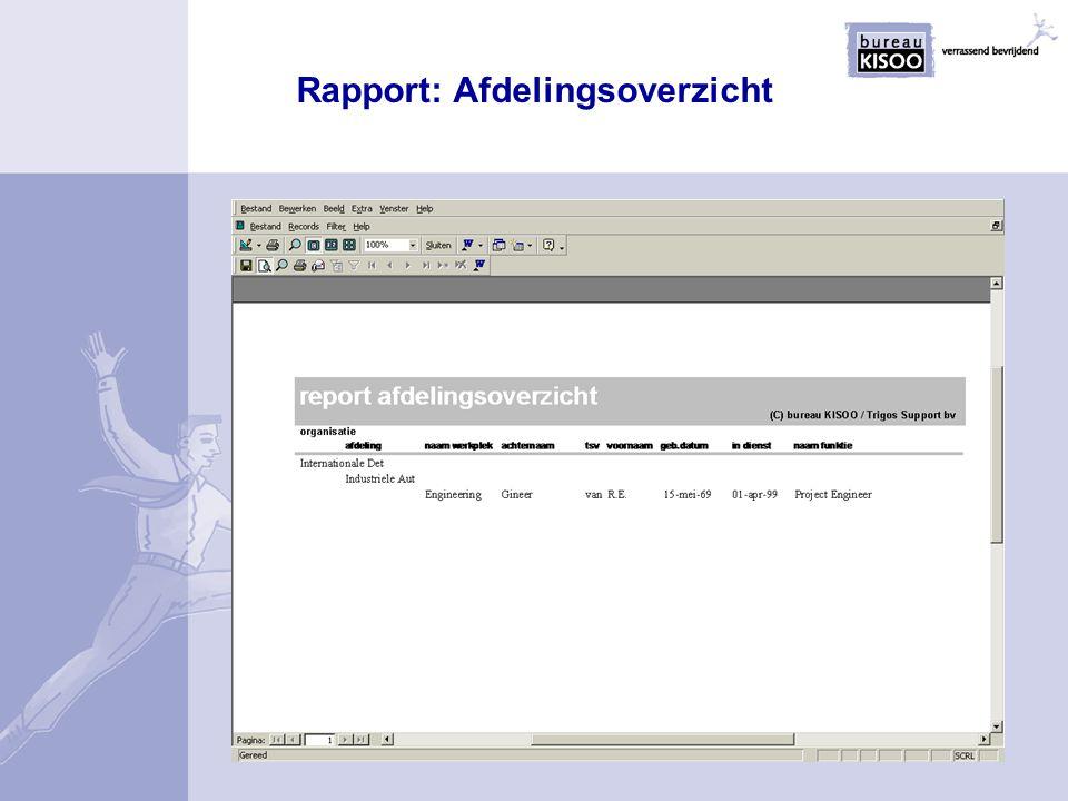 Rapport: Afdelingsoverzicht