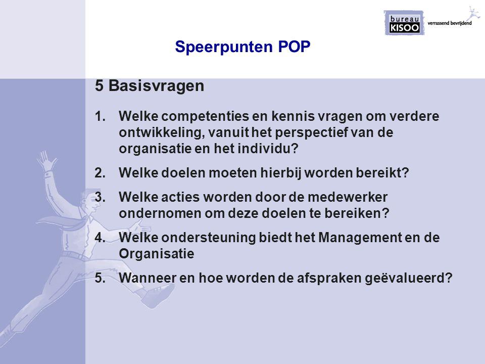 5 Basisvragen Speerpunten POP 1.Welke competenties en kennis vragen om verdere ontwikkeling, vanuit het perspectief van de organisatie en het individu