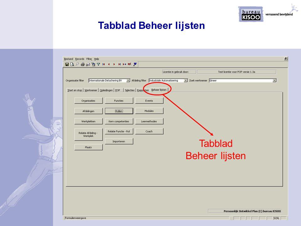 Tabblad Beheer lijsten