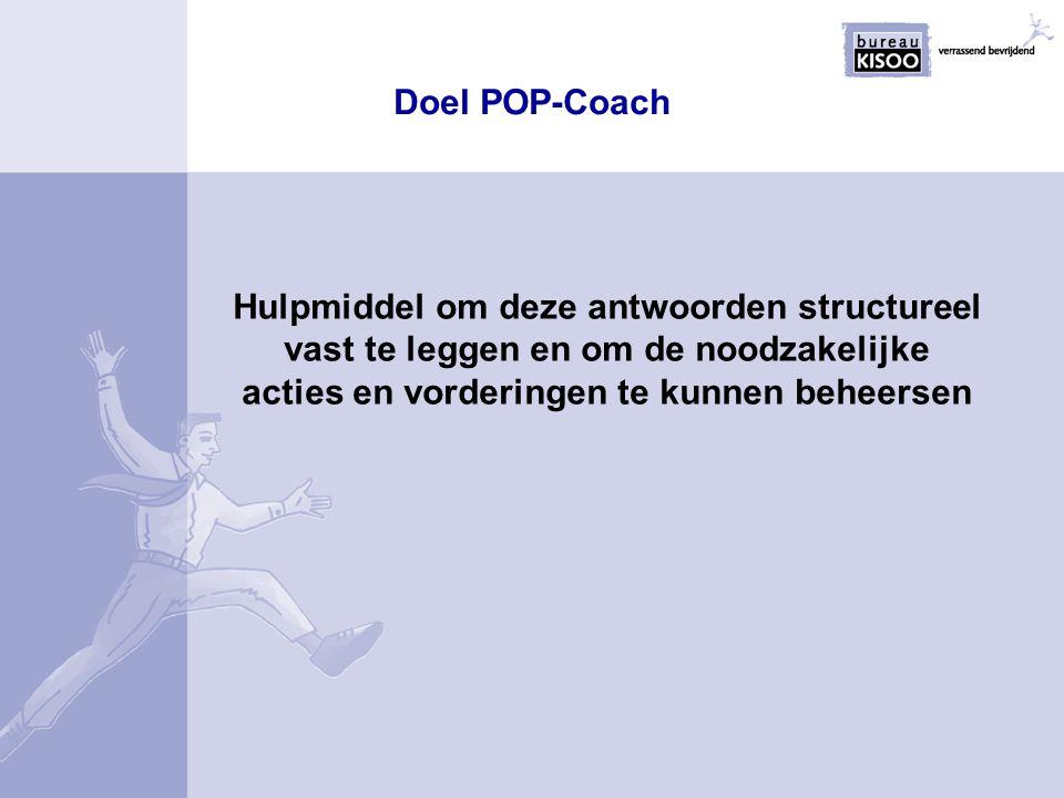 Uitvoering POP-Coach POP-coach is een software-tool op basis van een relationele database In POP-Coach kunnen de 5 basisvragen verwerkt en beheerst worden voor meerdere werknemers