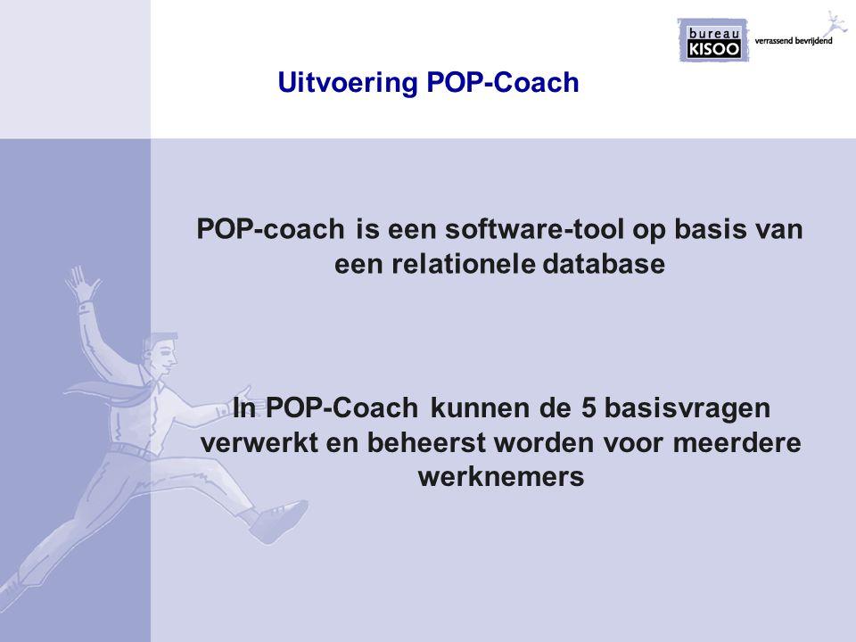 Kenmerken POP-Coach De belangrijkste kenmerken zijn: Eenvoudige mapstructuur Gebruikersvriendelijk Pragmatisch toepasbaar Relationele database maakt het mogelijk dat: aanpassingen centraal kunnen worden doorgevoerd doorsnijdingen gemaakt kunnen worden Uniforme output in de vorm van rapporten