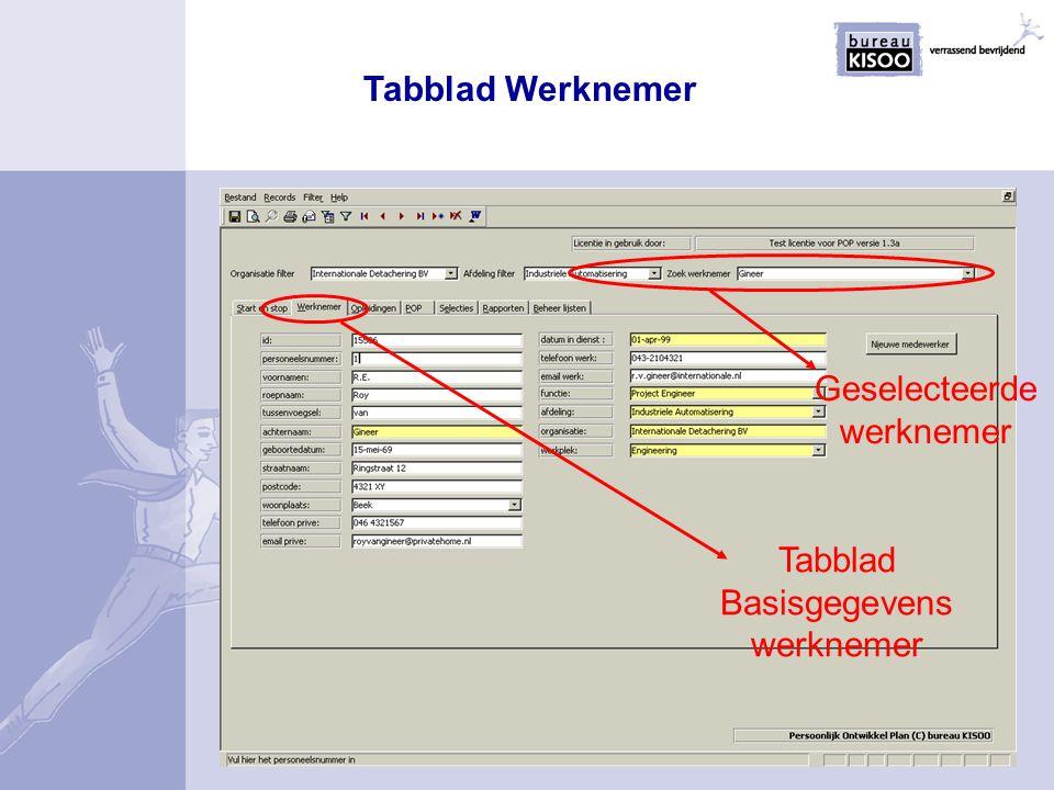 Tabblad Werknemer Geselecteerde werknemer Tabblad Basisgegevens werknemer