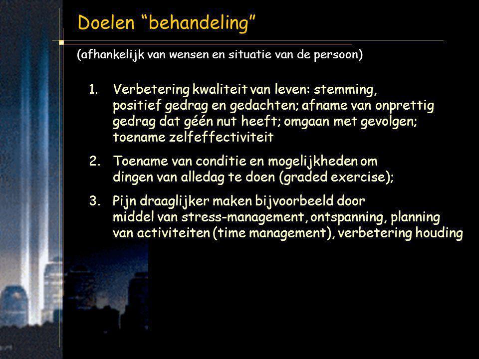 """Doelen """"behandeling"""" (afhankelijk van wensen en situatie van de persoon) 1.Verbetering kwaliteit van leven: stemming, positief gedrag en gedachten; af"""