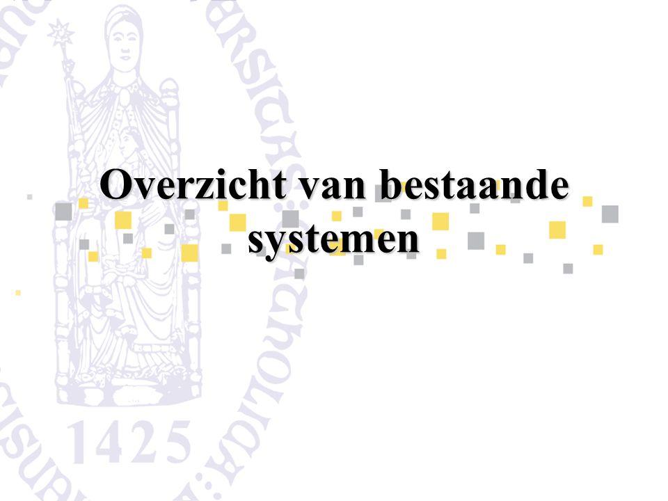 Overzicht van bestaande systemen