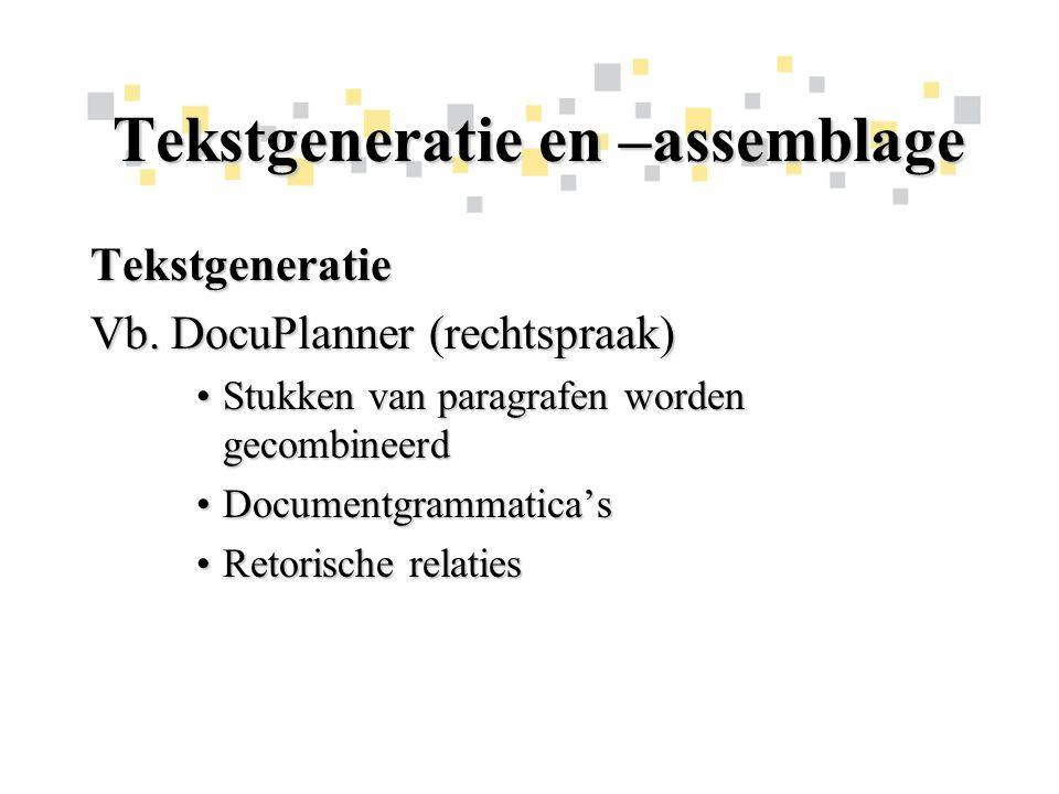 Tekstgeneratie en –assemblage Tekstgeneratie Vb.