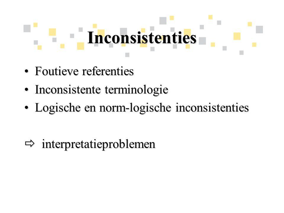 Inconsistenties Foutieve referentiesFoutieve referenties Inconsistente terminologieInconsistente terminologie Logische en norm-logische inconsistentiesLogische en norm-logische inconsistenties  interpretatieproblemen