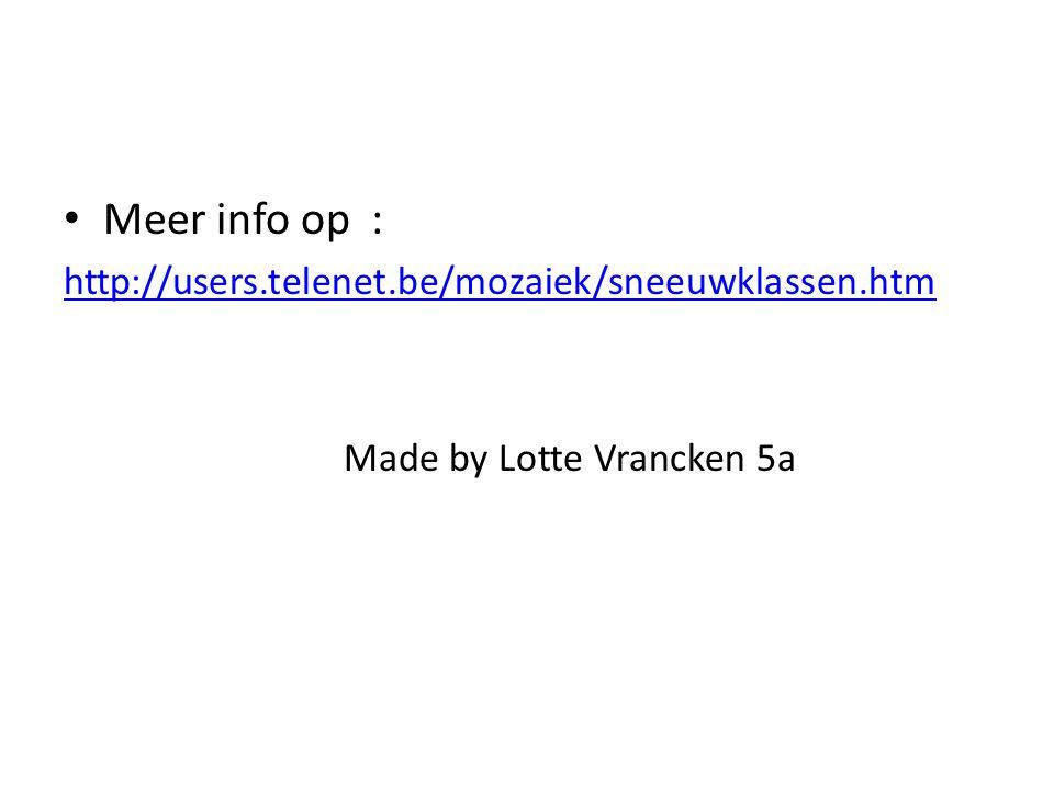 Meer info op : http://users.telenet.be/mozaiek/sneeuwklassen.htm Made by Lotte Vrancken 5a