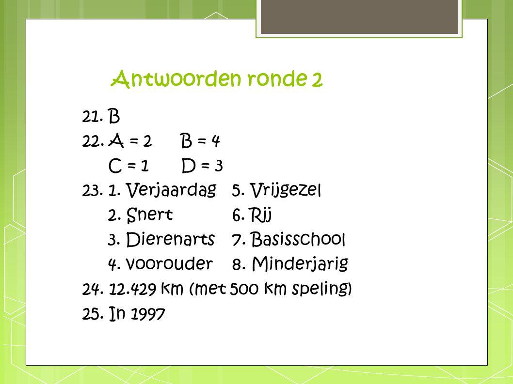 Antwoorden ronde 2 21. B 22. A = 2B = 4 C = 1D = 3 23. 1. Verjaardag5. Vrijgezel 2. Snert6. Rij 3. Dierenarts7. Basisschool 4. voorouder8. Minderjarig