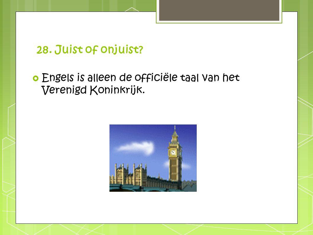 28. Juist of onjuist?  Engels is alleen de officiële taal van het Verenigd Koninkrijk.