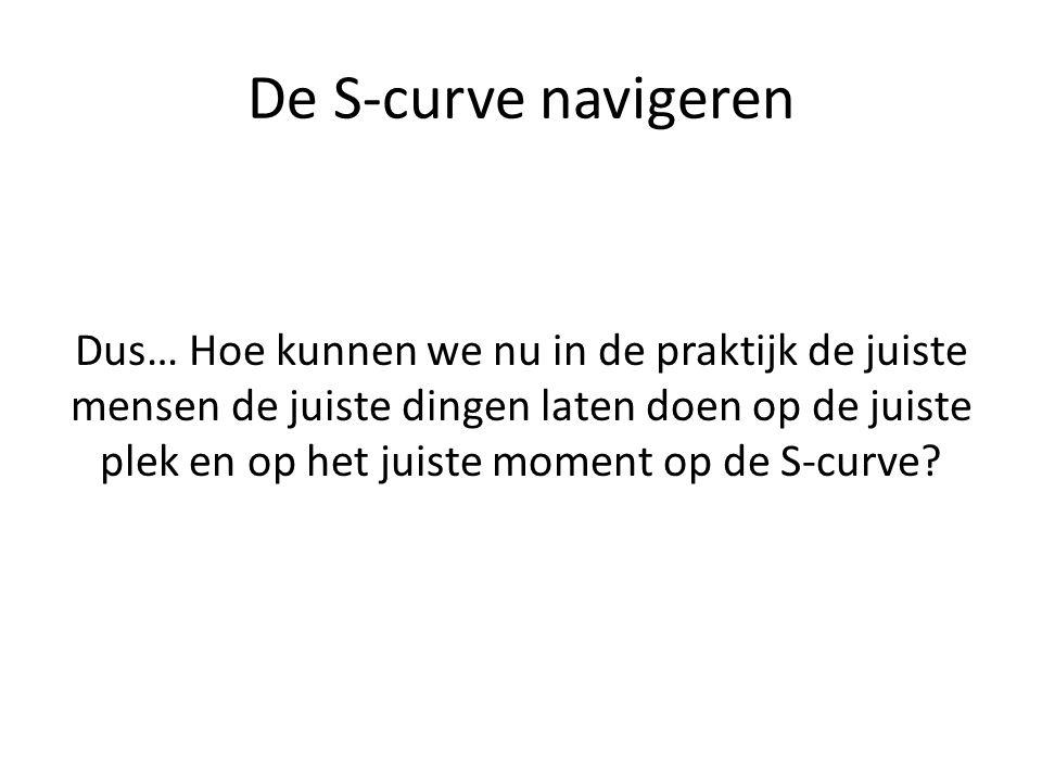 De S-curve navigeren Dus… Hoe kunnen we nu in de praktijk de juiste mensen de juiste dingen laten doen op de juiste plek en op het juiste moment op de