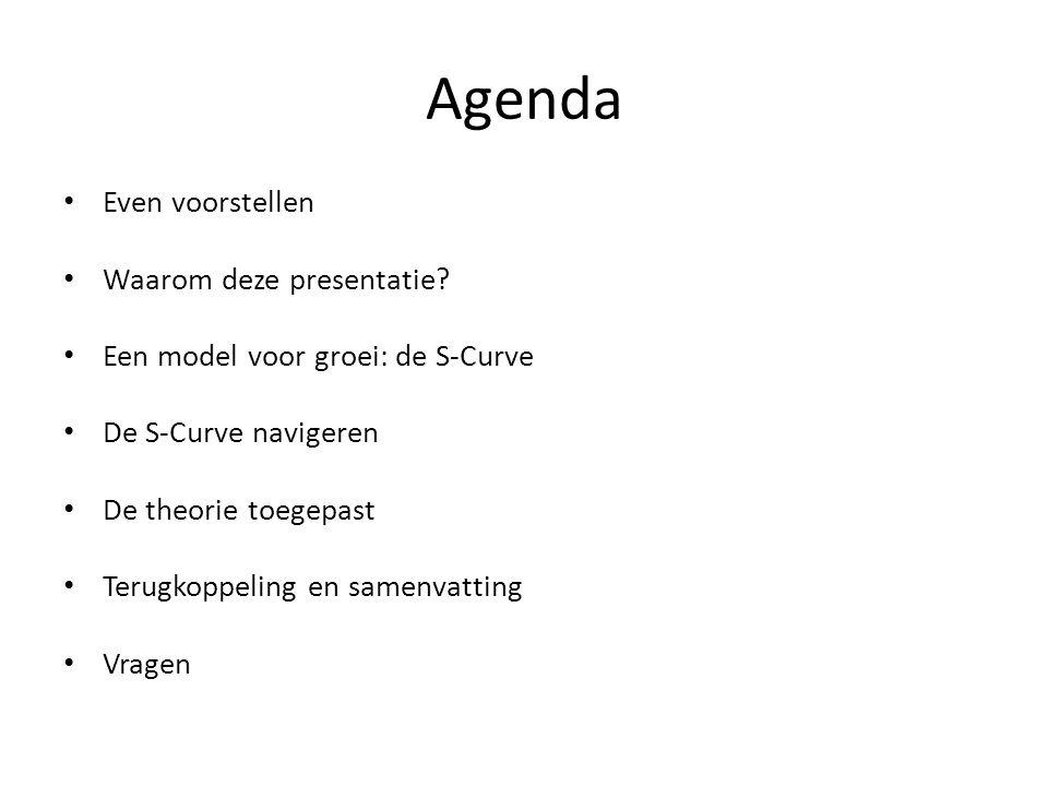Agenda Even voorstellen Waarom deze presentatie? Een model voor groei: de S-Curve De S-Curve navigeren De theorie toegepast Terugkoppeling en samenvat