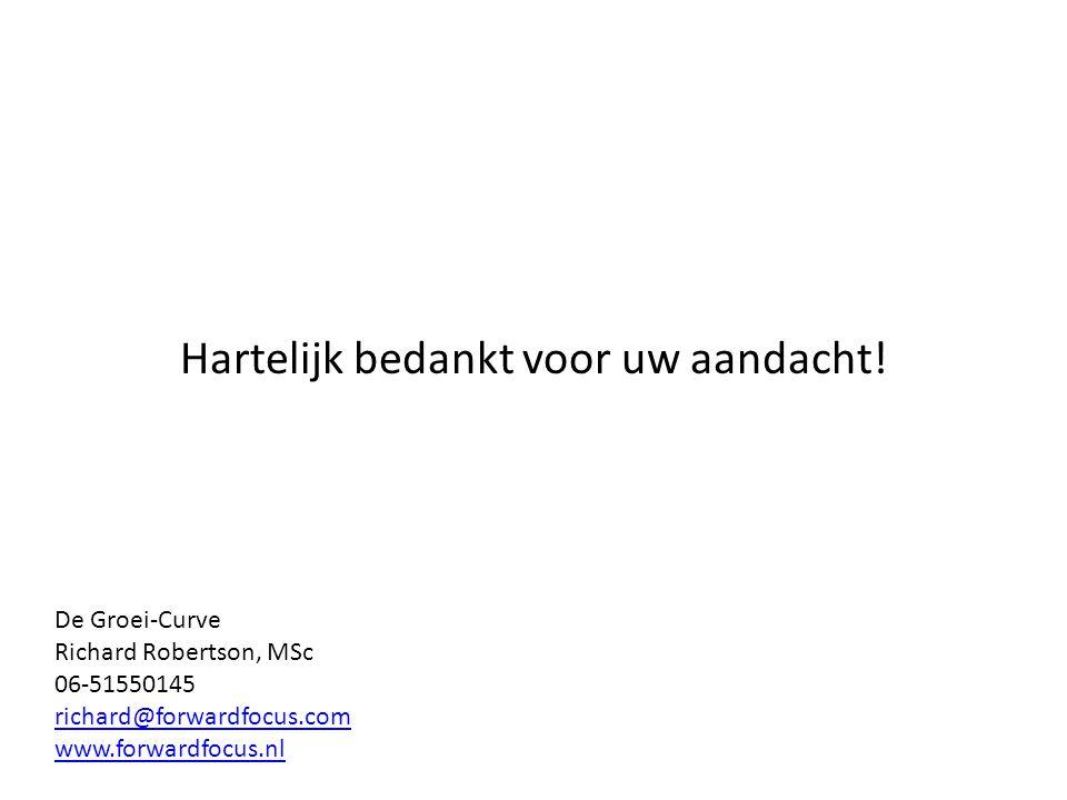 Hartelijk bedankt voor uw aandacht! De Groei-Curve Richard Robertson, MSc 06-51550145 richard@forwardfocus.com www.forwardfocus.nl