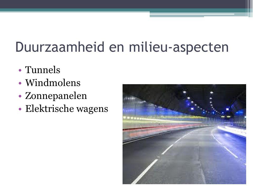 Duurzaamheid en milieu-aspecten Tunnels Windmolens Zonnepanelen Elektrische wagens