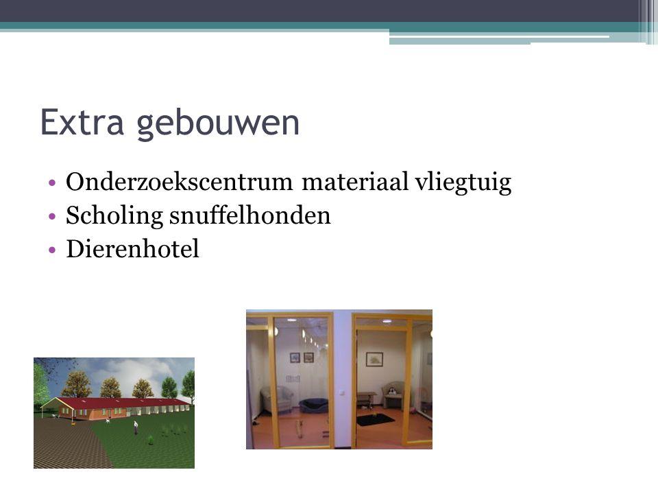 Extra gebouwen Onderzoekscentrum materiaal vliegtuig Scholing snuffelhonden Dierenhotel