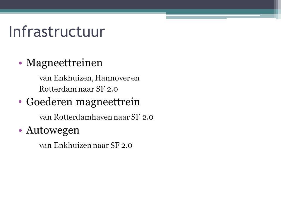 Infrastructuur Magneettreinen van Enkhuizen, Hannover en Rotterdam naar SF 2.0 Goederen magneettrein van Rotterdamhaven naar SF 2.0 Autowegen van Enkhuizen naar SF 2.0