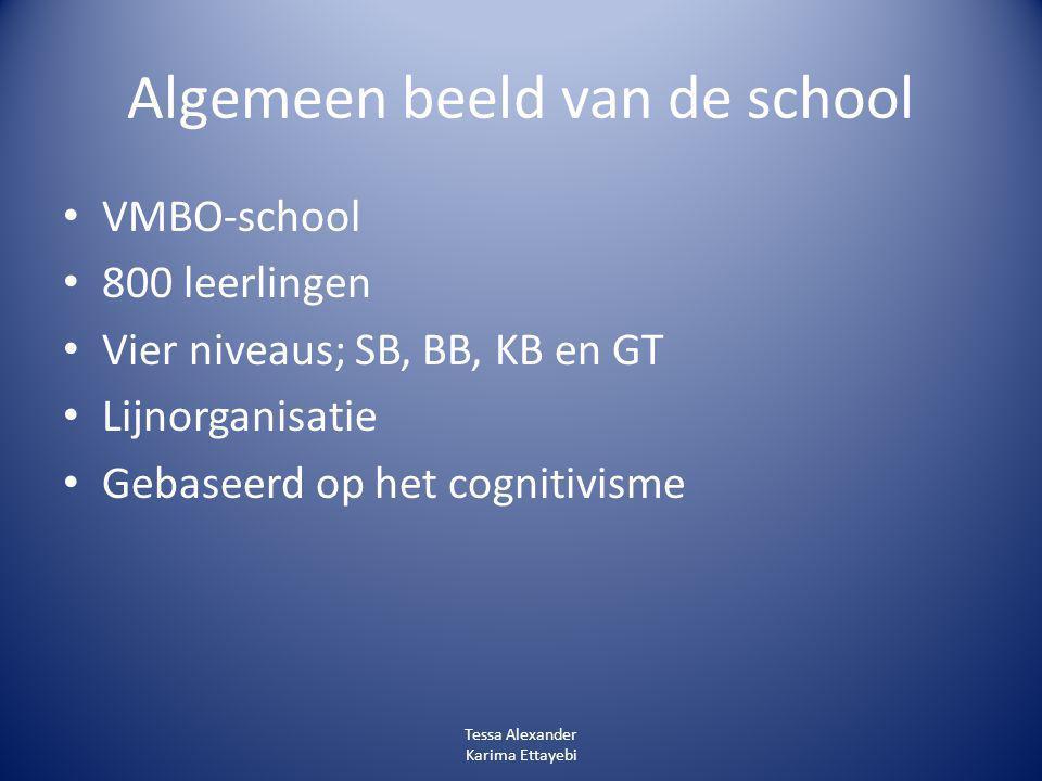 Algemeen beeld van de school VMBO-school 800 leerlingen Vier niveaus; SB, BB, KB en GT Lijnorganisatie Gebaseerd op het cognitivisme Tessa Alexander K
