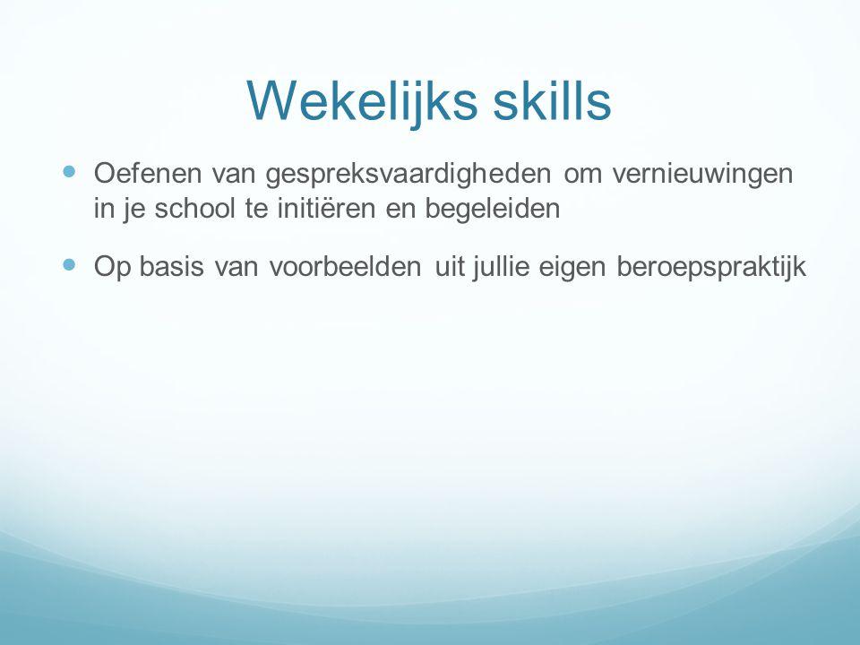Wekelijks skills Oefenen van gespreksvaardigheden om vernieuwingen in je school te initiëren en begeleiden Op basis van voorbeelden uit jullie eigen b