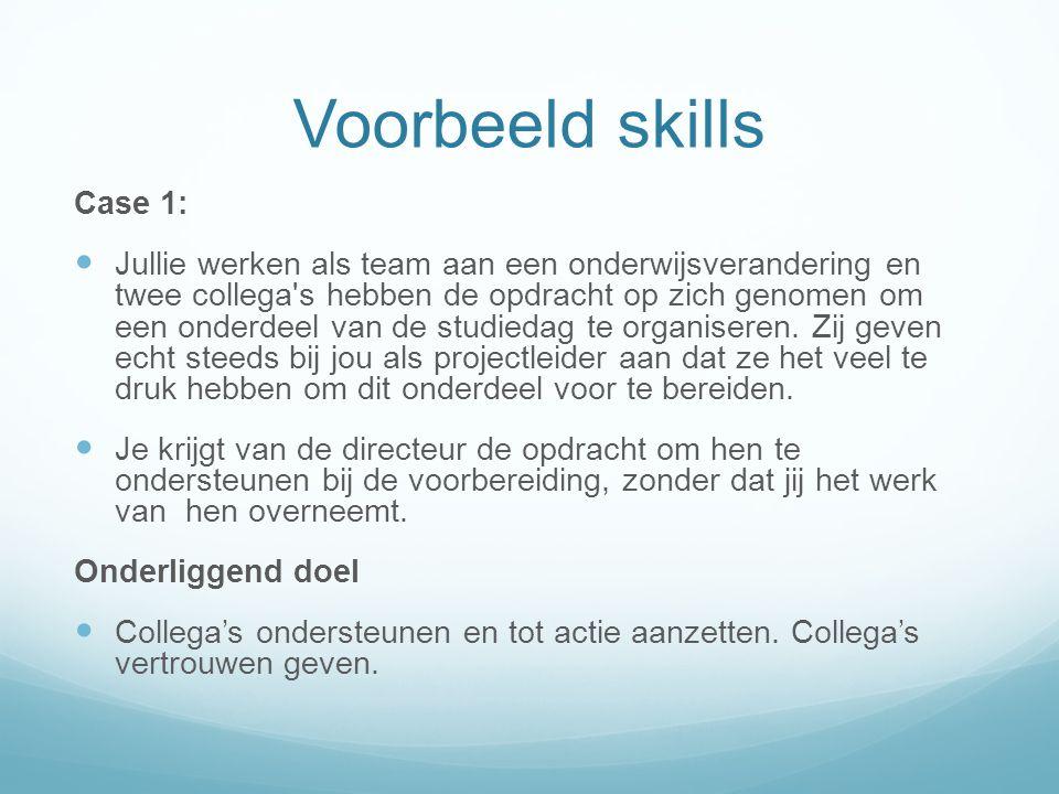 Voorbeeld skills Case 1: Jullie werken als team aan een onderwijsverandering en twee collega's hebben de opdracht op zich genomen om een onderdeel van