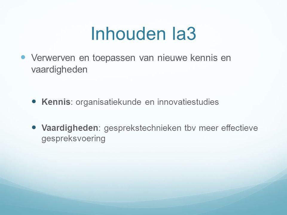 Inhouden la3 Verwerven en toepassen van nieuwe kennis en vaardigheden Kennis: organisatiekunde en innovatiestudies Vaardigheden: gesprekstechnieken tb