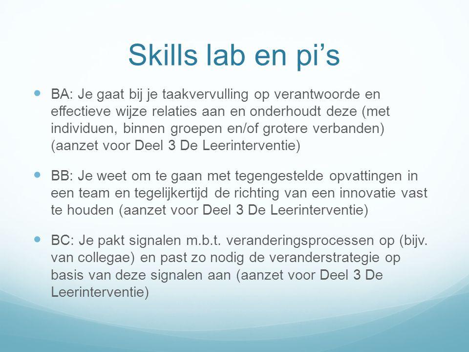 Skills lab en pi's BA: Je gaat bij je taakvervulling op verantwoorde en effectieve wijze relaties aan en onderhoudt deze (met individuen, binnen groep