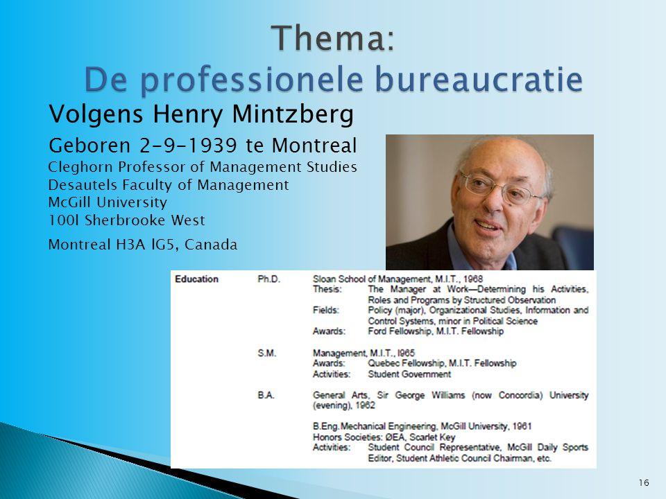 Volgens Henry Mintzberg Geboren 2-9-1939 te Montreal Cleghorn Professor of Management Studies Desautels Faculty of Management McGill University 100l Sherbrooke West Montreal H3A lG5, Canada 16