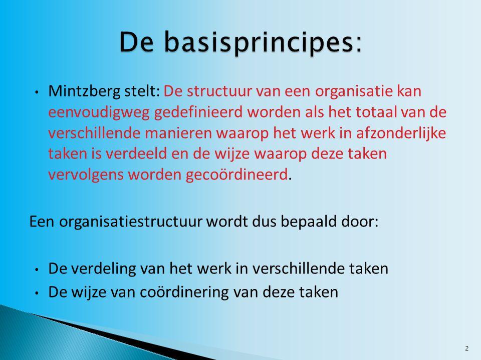 2 Mintzberg stelt: De structuur van een organisatie kan eenvoudigweg gedefinieerd worden als het totaal van de verschillende manieren waarop het werk in afzonderlijke taken is verdeeld en de wijze waarop deze taken vervolgens worden gecoördineerd.