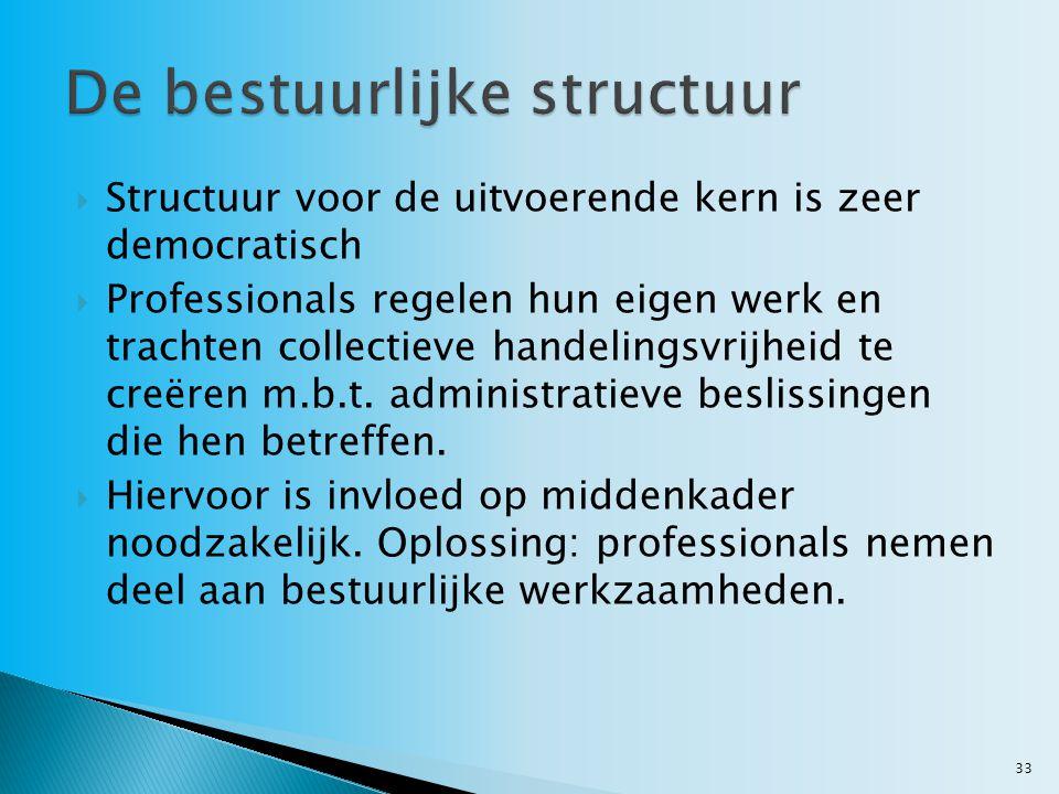  Structuur voor de uitvoerende kern is zeer democratisch  Professionals regelen hun eigen werk en trachten collectieve handelingsvrijheid te creëren m.b.t.