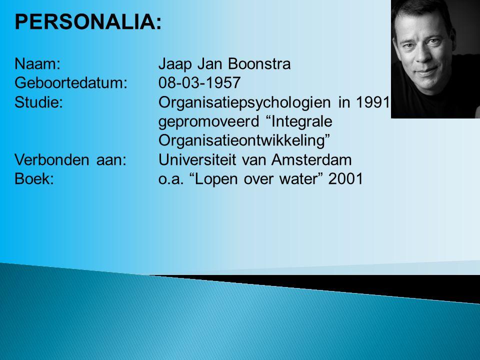 PERSONALIA: Naam:Jaap Jan Boonstra Geboortedatum:08-03-1957 Studie:Organisatiepsychologien in 1991 gepromoveerd Integrale Organisatieontwikkeling Verbonden aan:Universiteit van Amsterdam Boek:o.a.