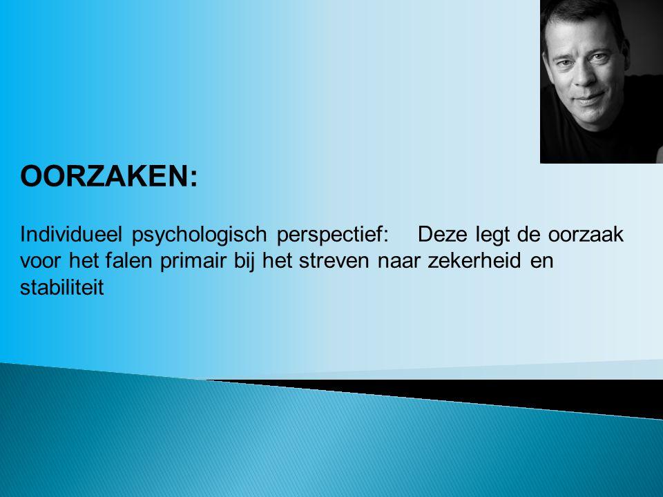 OORZAKEN: Individueel psychologisch perspectief: Deze legt de oorzaak voor het falen primair bij het streven naar zekerheid en stabiliteit