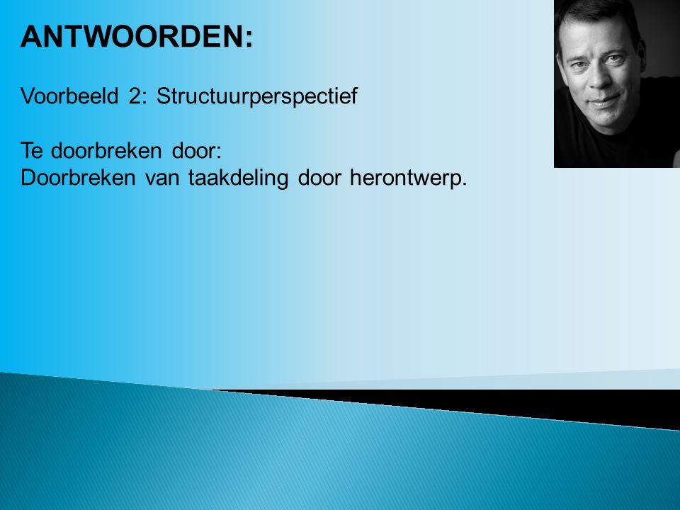 ANTWOORDEN: Voorbeeld 2:Structuurperspectief Te doorbreken door: Doorbreken van taakdeling door herontwerp.