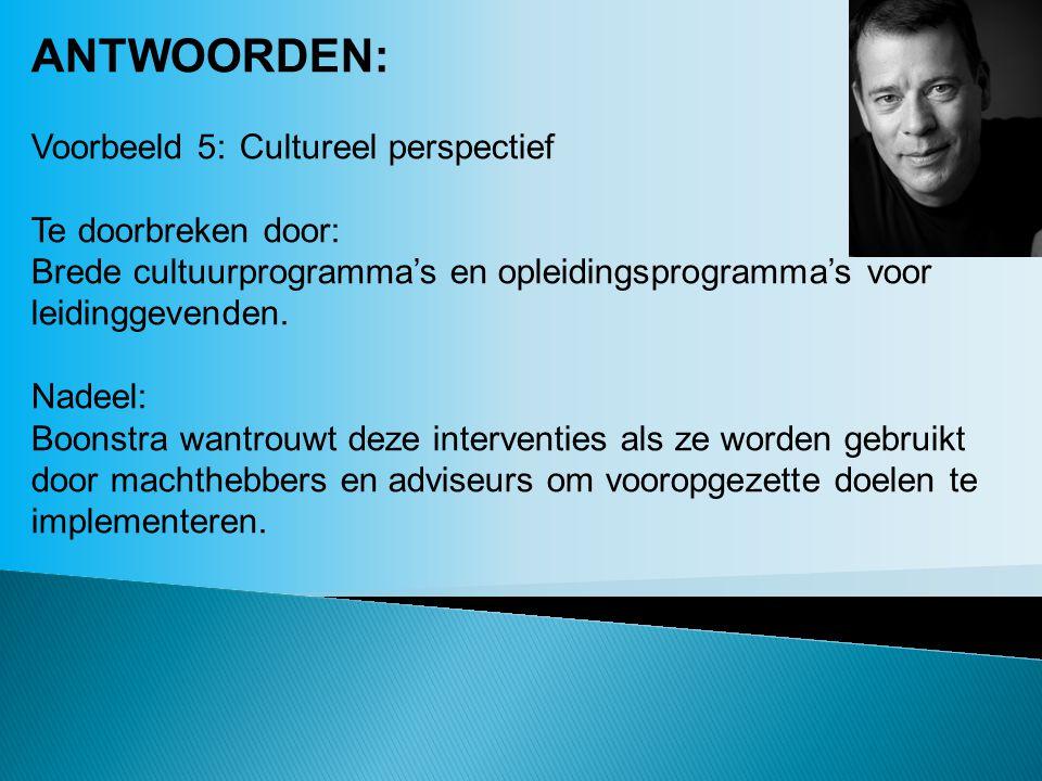 ANTWOORDEN: Voorbeeld 5:Cultureel perspectief Te doorbreken door: Brede cultuurprogramma's en opleidingsprogramma's voor leidinggevenden. Nadeel: Boon