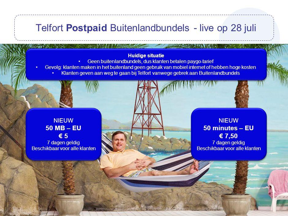 Telfort Postpaid Buitenlandbundels - live op 28 juli NIEUW 50 MB – EU € 5 7 dagen geldig Beschikbaar voor alle klanten NIEUW 50 MB – EU € 5 7 dagen ge