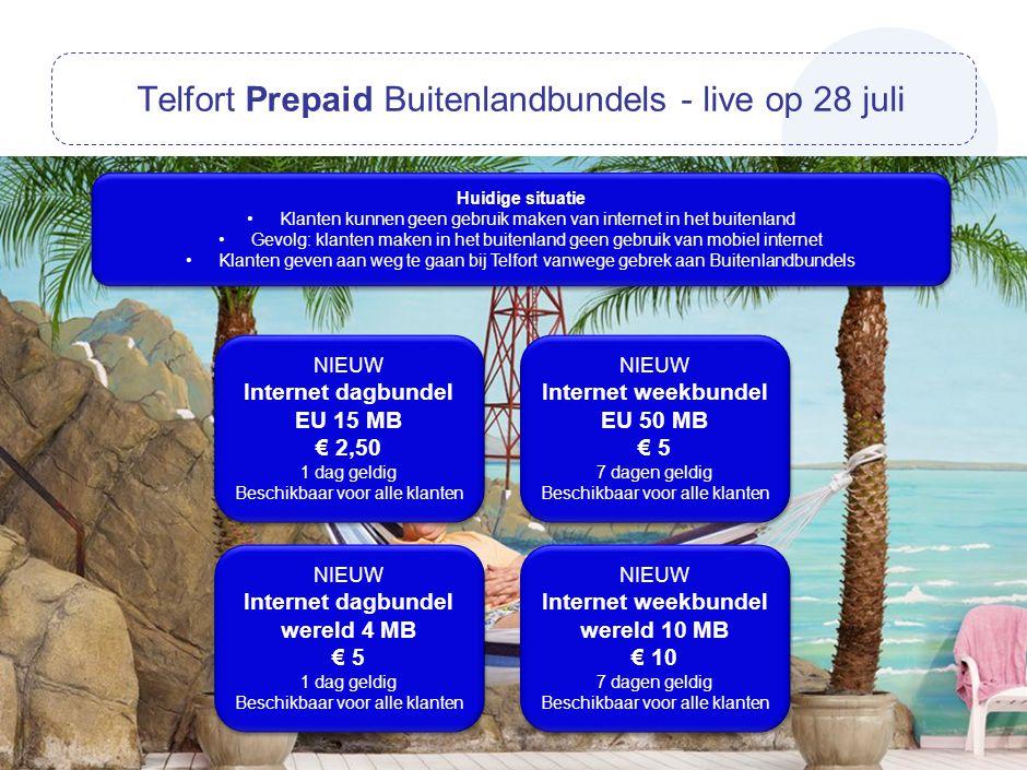 Telfort Prepaid Buitenlandbundels - live op 28 juli NIEUW Internet dagbundel EU 15 MB € 2,50 1 dag geldig Beschikbaar voor alle klanten NIEUW Internet