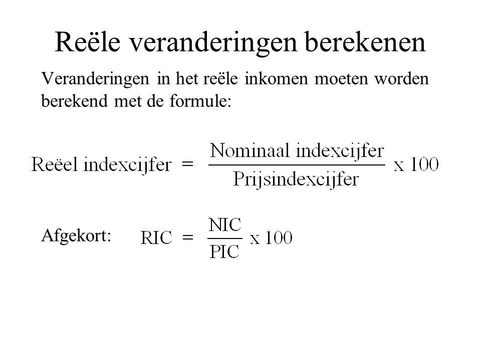 Reële veranderingen berekenen Veranderingen in het reële inkomen moeten worden berekend met de formule: Afgekort: