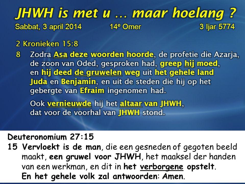 Deuteronomium 27:15 15 Vervloekt is de man, die een gesneden of gegoten beeld maakt, een gruwel voor JHWH, het maaksel der handen van een werkman, en dit in het verborgene opstelt.