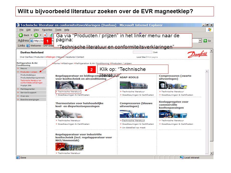 Wilt u bijvoorbeeld literatuur zoeken over de EVR magneetklep.