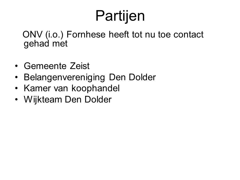Partijen ONV (i.o.) Fornhese heeft tot nu toe contact gehad met Gemeente Zeist Belangenvereniging Den Dolder Kamer van koophandel Wijkteam Den Dolder