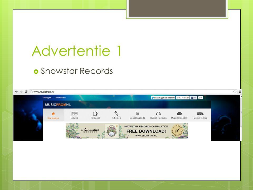 Advertentie 1  Snowstar Records